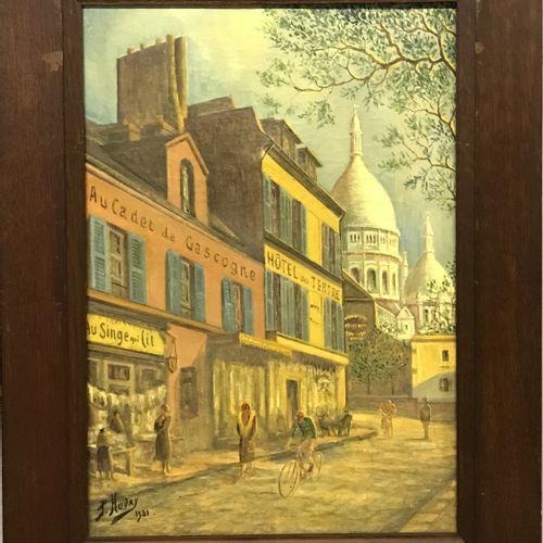 """P.HUDRY P.HUDRY  """"AU CADET DE GASCOGNE""""  Huile sur toile signée et datée 1931 en…"""