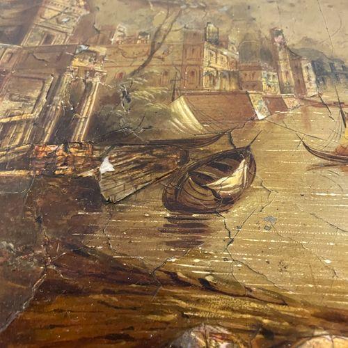 GUERIDON tripode en bois noirci à décor peint et incrustation de nacre représent…