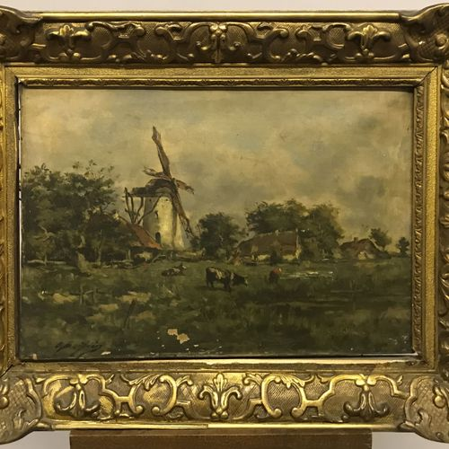 O. BEIFRIN O. BEIFRIN  PAYSAGE AU MOULIN  Huile sur toile signée en bas à gauche…