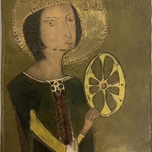 V. KOSNAI V. KOSNAI  Icône en terre cuite émaillée représentant Sainte Catherine…