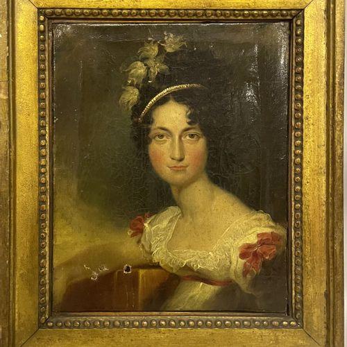 Attribué à John BOADEN Attribué à John BOADEN  PORTRAIT DE JEUNE FEMME, 1815  Hu…