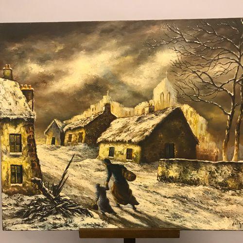 D. GOZLAN D. GOZLAN  Paysage animé sus la neige.  Deux huiles sur toile signées …
