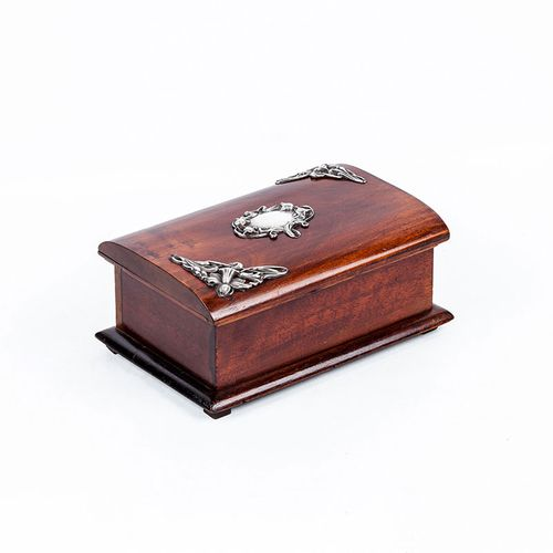 Jewelry box period ' art noveau ', circa 1900, made of mahogany. Chest with hing…