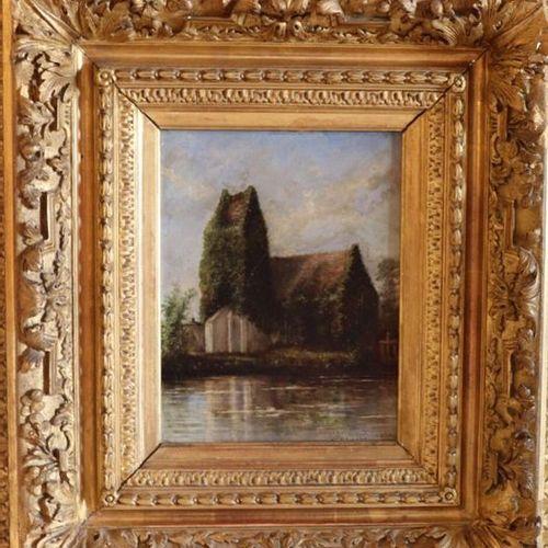 """Blanche, (XIX ème), """" Eglise au bord d'un lac"""", petite huile sur carton, Signé e…"""