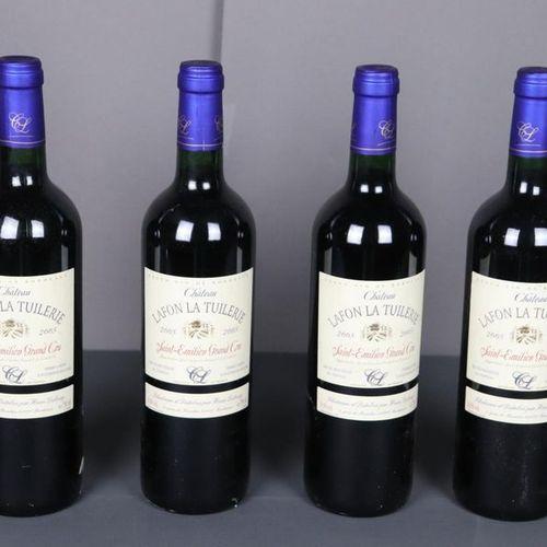 4 bouteilles Château Lafon La Tuilerie, Saint Emilion Grand Cru, 2005, TLB