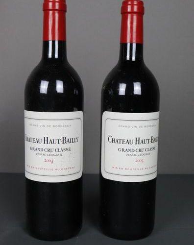 2 Bouteilles Château Haut Bailly, Grand Cru Classé, Pessac Léognan, 2003, TLB, E…