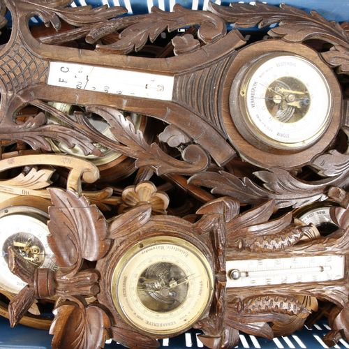 Nine stabbed wooden wall barometers, including with hunting motifs, first quarte…