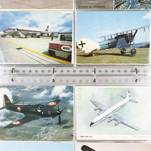 Album with about 65 postcards and a photocard, concerning airplanes, including: …