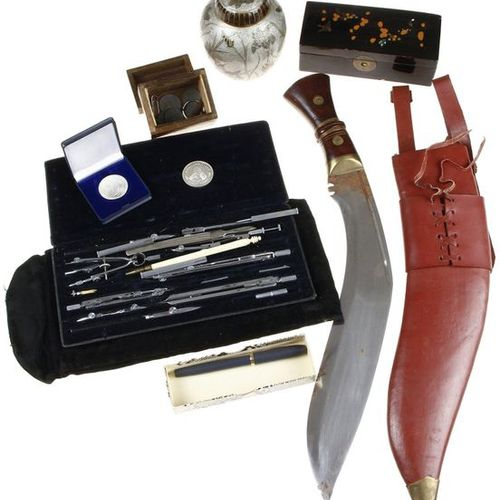 Gurkha knife in leather sheath, extensive set of compasses, Ahrend, Schaeffer fo…