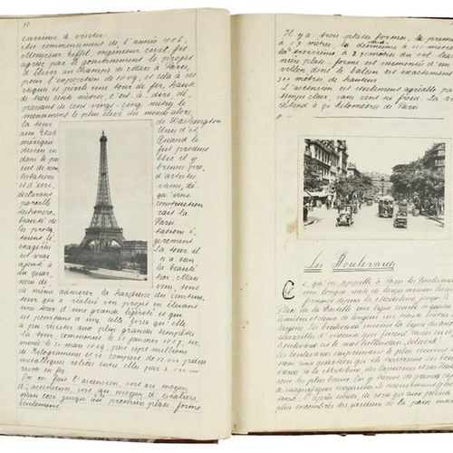 Handwritten description of the city of Paris, illustrated with postcards, early …