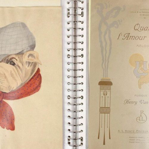 Binder with book illustrations, drawings, telegrams and engravings, including fr…