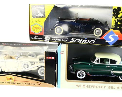 Auto's Sun Star, Chevrolet Bel Air Hard Top Coupe, 1953, Maisto, Mercedes Benz 5…