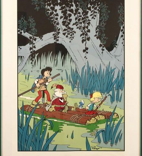 "Smurfen Original Johan and Pirrewit print with Smurf on raft from ""Le Pays Maudi…"