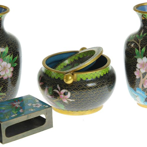 Pair of Chinese black cloisonné vases with floral decor, ashtray with chrysanthe…