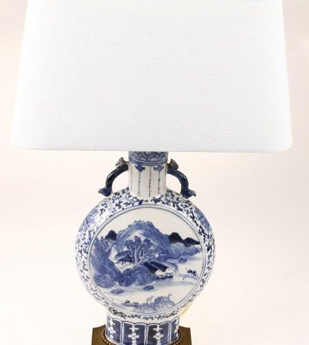 Chinese porcelain so called 'Moonflask' with landscape decor, entertained as a l…