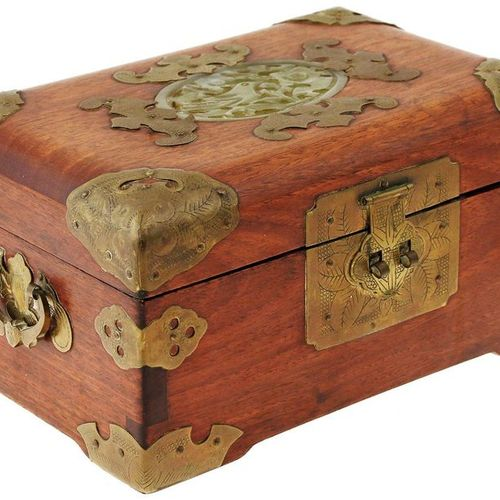 Wooden jewellery box with brass mounts in the shape of bats and inlaid jade meda…