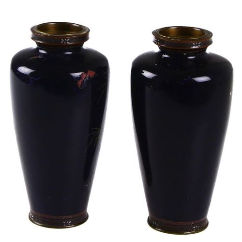 Pair of black cloisonné vases with carved edges, bamboo and bird decor, Japan, M…