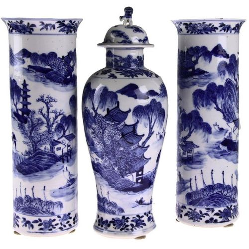 Three part Chinese porcelain cabinet set, consisting of: two trumpet shaped vase…