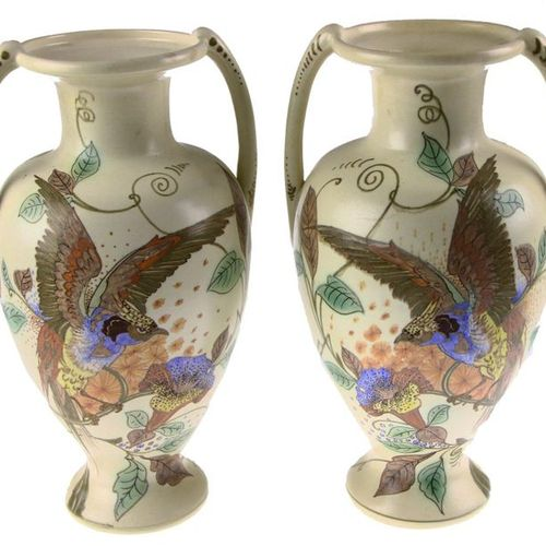 Pair of earthenware vases with ears and polychrome art nouveau floral and bird d…
