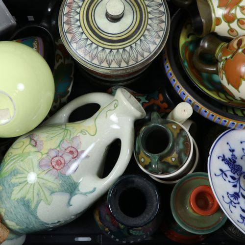 Porcelain and earthenware plates, bottles and vases including many plates divers…
