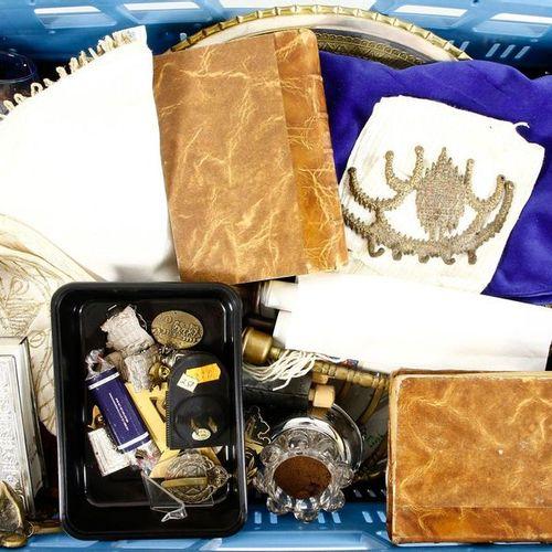 Menorahs, yarmulkes, torah scrolls, etc., mostly fourth quarter 20th century