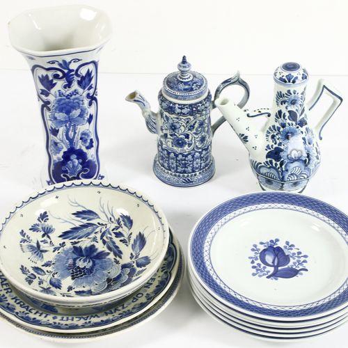 Earthenware vase with blue white floral decor, The Porceleyne Bottle, Delft H. 2…