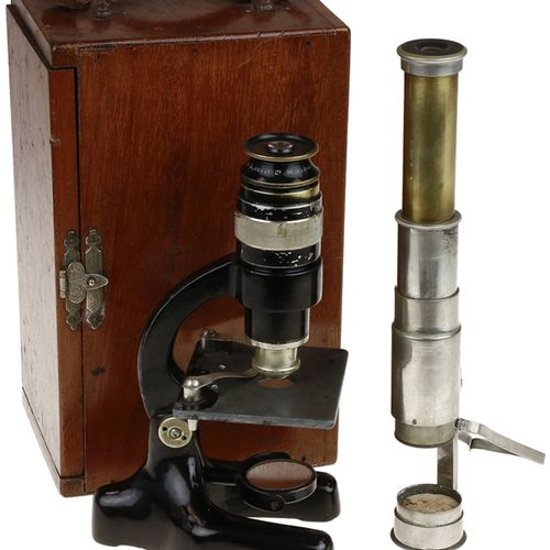 Pocket microscope in mahogany storage box, Flatters and Garnett Ltd., Manchester…