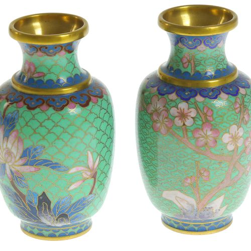 Pair of Chinese cloisonné vases with polychrome blossom and chrysanthemum decor …