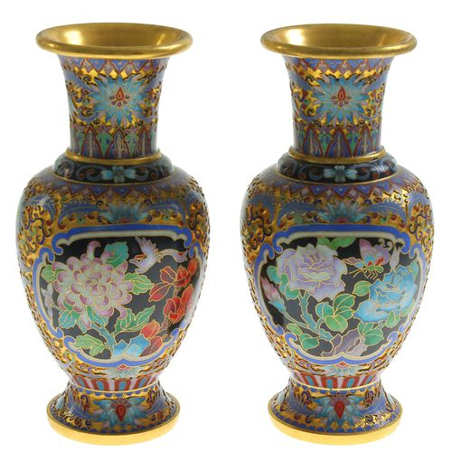 Pair of Chinese partly gilded baluster shaped Chinese cloisonné vases with carto…