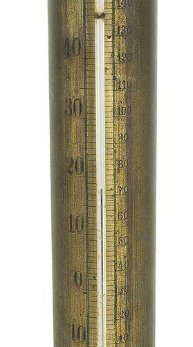 钟表 一支部分镀金的法国温度计,有华氏和雷乌姆的度数显示,形状为科林斯柱,上面有一个带竖琴和月桂树枝的雪花石球上的普蒂,底座为洛可可风格,约1880年 高80厘…