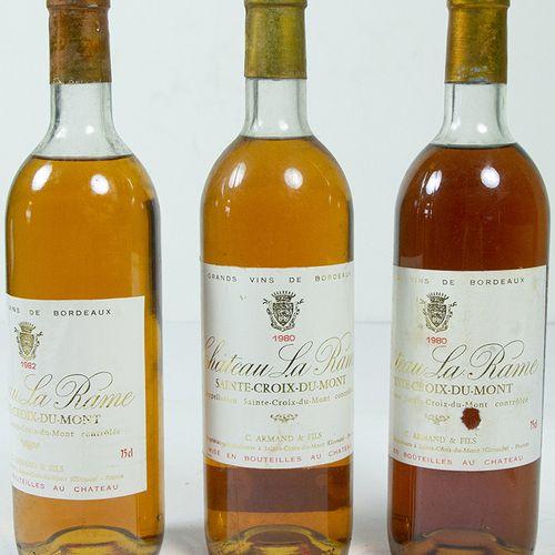 Vins, whisky, etc. Trois bouteilles Château la Rame, Sainte Croix du Mont, 1982 …
