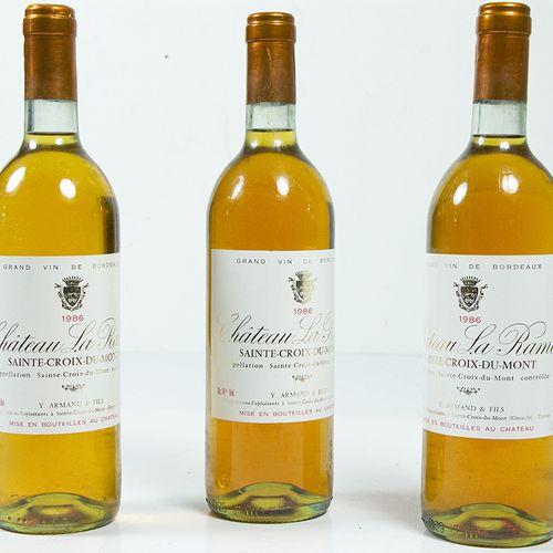Vins, whisky, etc. Trois bouteilles Château la Rame, Sainte Croix du Mont, 1986 …