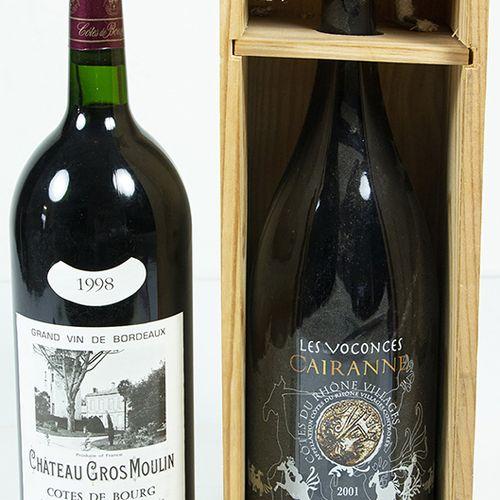 Vins, whisky, etc. Deux magnums : Bordeaux Chateau Gros Moulin, Cotes de Bourg, …