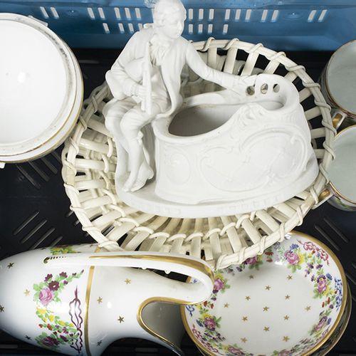 Porcelaine, faïence, etc. Partie d'un service à café empire en porcelaine polych…