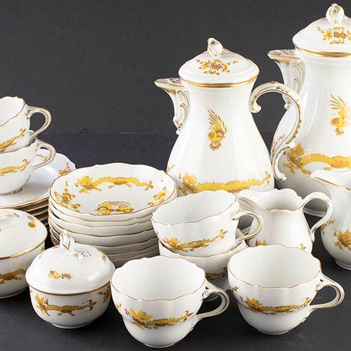 """Porcelaine, faïence, etc. Service à thé et à café """"gelber Drache"""" de Meissen com…"""