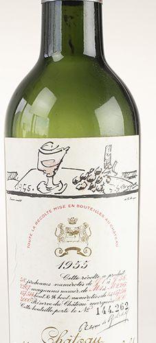 Vins, whisky, etc. Château Mouton Rothschild. 1955, étiquette dessinée par Georg…