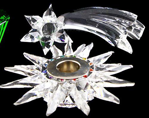 玻璃器皿 施华洛世奇 施华洛世奇:彗星流星烛台,Solaris烛台 稍有损坏 ,A. Putman的Trio套装中的绿色烛台和纸镇