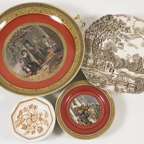 Porcelaine, faïence, etc. Un service anglais de neuf pièces décoré de 'The truan…