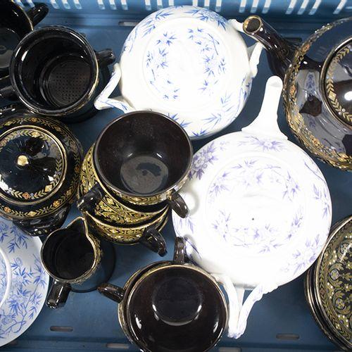 Porcelaine, faïence, etc. Service à thé en céramique noire comprenant : une théi…