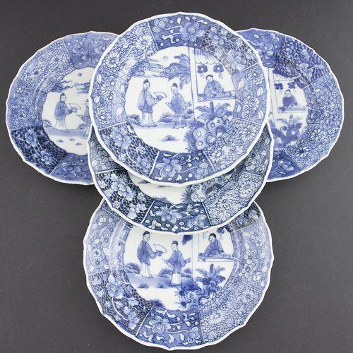 Art et objets d'Asie Assiettes en porcelaine fine de Chine, bleu et blanc, décor…