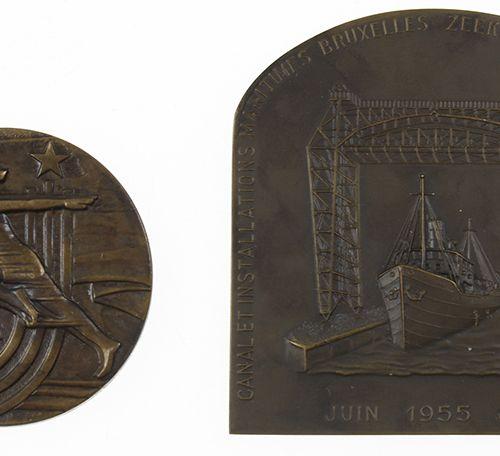 """硬币、奖章等。 纪念章 """"运河和港口设施,布鲁塞尔,1955年6月"""",添加:俄罗斯奖章,1979年"""