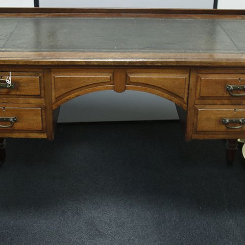 Furniture, mirrors, lamps etc. A teak writing desk with drawers and leather inla…