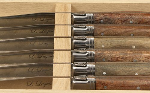 Bric a brac Six steak knives in wooden box, Laguiole