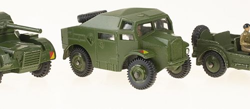 Modeling Cars set of 3 Dinky Toys including; Daimler Armoured Car #670G, Austin …