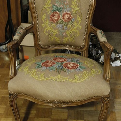 Furniture, mirrors, lamps etc. A beechwood arm chair with gros point upholstery,…