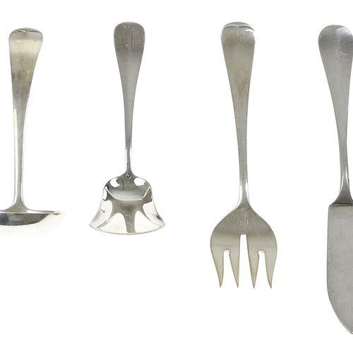 Silver objects Flatware, Netherlands Silver sugar spoon, sardines fork, cream la…