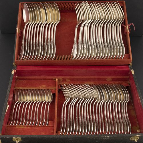 Silver objects Miscellaneous Silver flatware service in original box with brass …