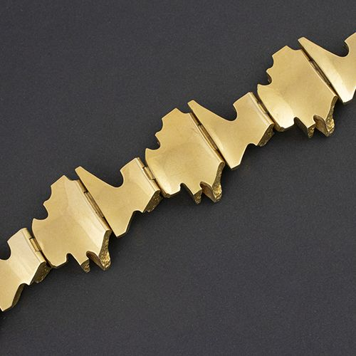 Gold jewellery and objects 18k yellow gold Bar tusk bracelet, by BJÖRN WECKSTRÖM…