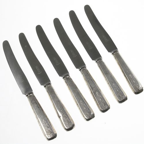 Silver objects Flatware, Netherlands Six table spoons with silver handles and en…