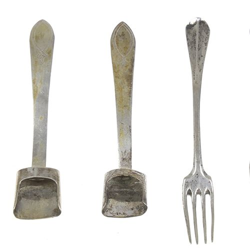 Silver objects Flatware, Netherlands A pair of condiment spoons with engraved de…